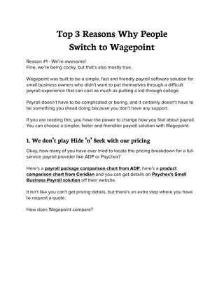 Top 3 Reasons Why People Switch to Wagepoint