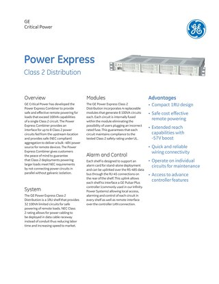 GE Critical Power_Power Express Class 2 Distribution Brochure