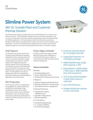 GE Critical Power_Slimline Pwr Sys 48V DC Outside Plant & Cust Solution