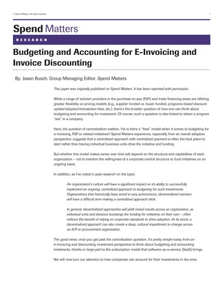 Spend Matters: Budgeting and Accounting for eInvoicing and Invoice Discounting