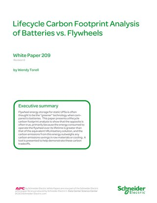 WP 209 - Life Cycle Carbon Analysis of Batteries and Flywheels