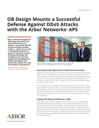 OB Design Mounts a Successful Defense Against DDoS Attacks with the Arbor Networks APS