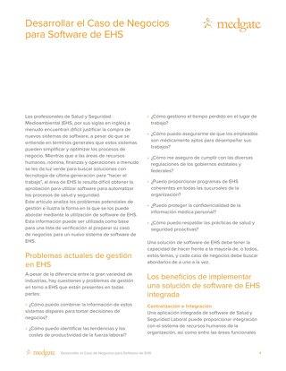 Desarrollar el Caso de Negocios para Software de EHS