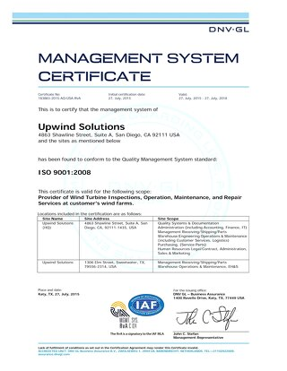 UpWind Solutions DNV GL ISO 9001 Certification