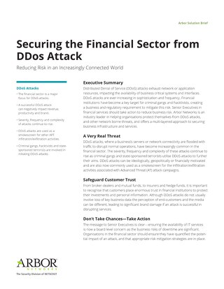 Protecting Financial Services Organizations from DDoS