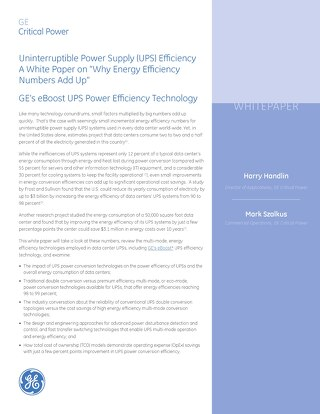 "Whitepaper: Uninterruptible Power Supply (UPS) Efficiency A White Paper on ""Why Energy Efficiency Numbers Add Up"""