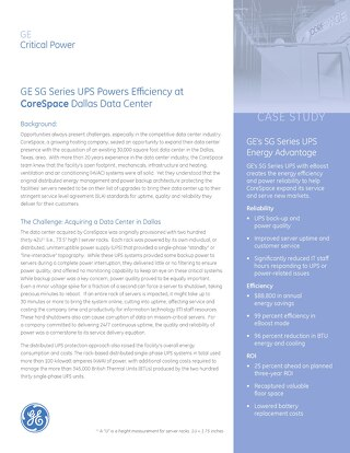 GE SG Series UPS Powers Efficiency at CoreSpace Dallas Data Center