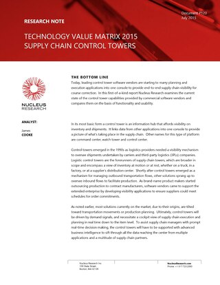 Technology Value Matrix 2015 - Supply Chain Control Towers  (COVER ONLY)