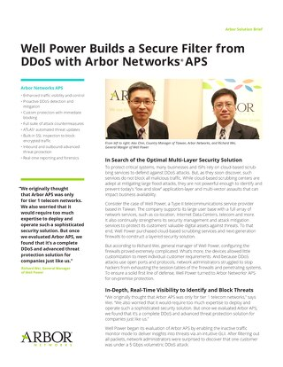 Well Power Builds a Secure Filter from DDoS with Arbor Networks APS