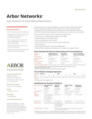 Arbor Networks SP Virtual Machine