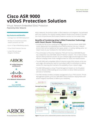 Cisco ASR9000 vDDoS Protection Data Sheet for Service Providers