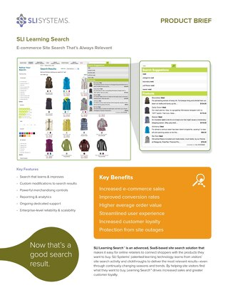 SLI Learning Search: E-commerce Site Search That's Always Relevant