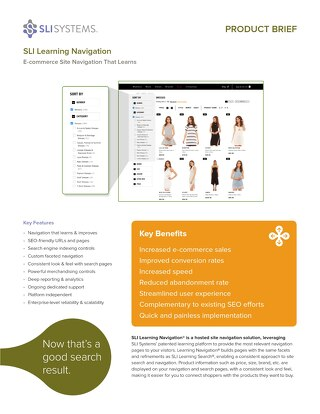 SLI Learning Navigation: E-Commerce Site Navigation That Learns