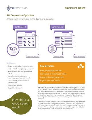 SLI Conversion Optimizer: A/B and Multivariate Testing for Site Search and Navigation