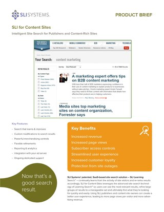 SLI for Content Sites: Intelligent Site Search for Publishers and Content-Rich Sites