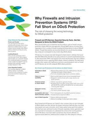 Why Firewalls and Intrusion  Prevention Systems (IPS) Fall Short on DDoS Protection