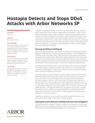 Hostopia Detects and Stops DDoS Attacks with Arbor Networks SP