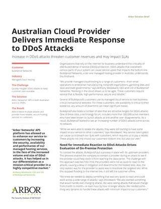 Australian Cloud Provider Delivers Immediate Response to DDoS Attacks