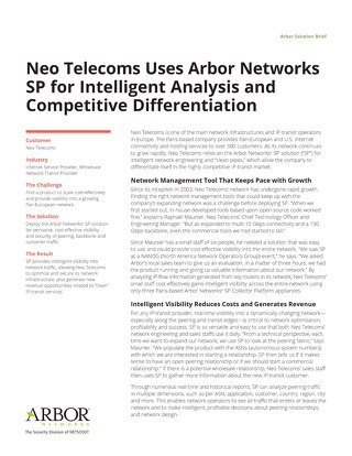 Neo Telecoms Uses Arbor Networks SP for Intelligent Analysis and Competitive Differentiation