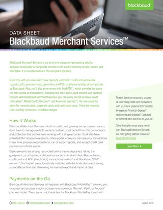 Blackbaud Merchant Services: Payment Services Made Simple