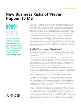 The Business Risk of 'It Never Happened to Me'
