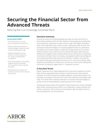 Protecting Financial Services Organizations from Advanced Threats