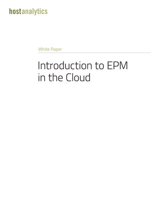 EPM in the Cloud