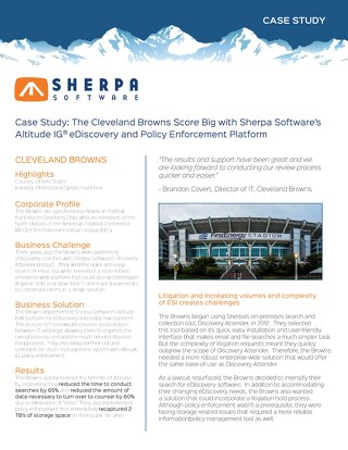 The Cleveland Browns Score Big with Sherpa Software's Altitude IG® eDiscovery and Policy Enforcement Platform