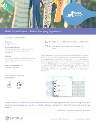Bebê Store: 60% boost in per-visit value from site search users