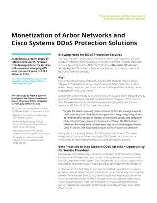 Monetization of Arbor Networks and Cisco Systems DDoS Protection Solutions