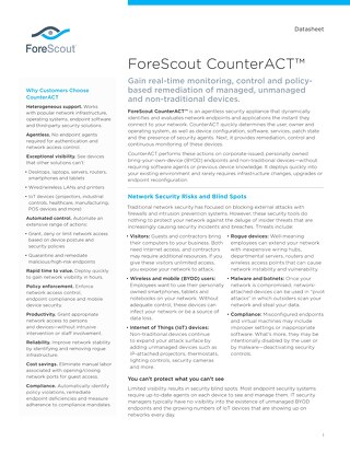 ForeScout CounterACT Datasheet