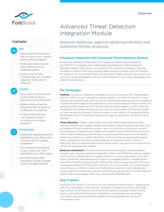 Advanced Threat Detection Integration Module ForeScout Datasheet