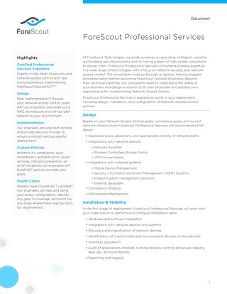 Professional Services ForeScout Datasheet