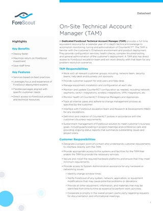 On Site Technical Account Manager TAM Datasheet