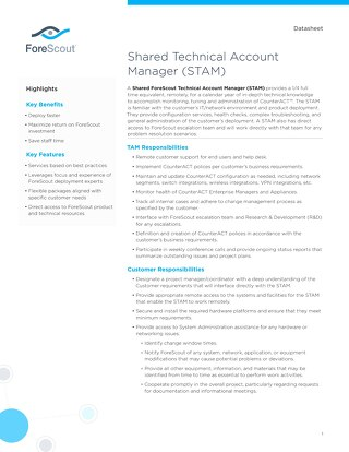 Shared Technical Account Manager STAM ForeScout Datasheet