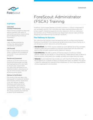 FSCA Training Datasheet