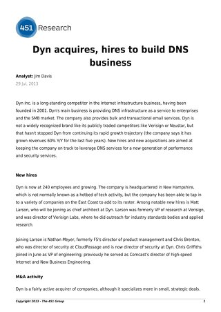 Dyn acquires, hires to build DNS business
