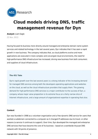 Cloud models driving DNS, traffic management revenue for Dyn