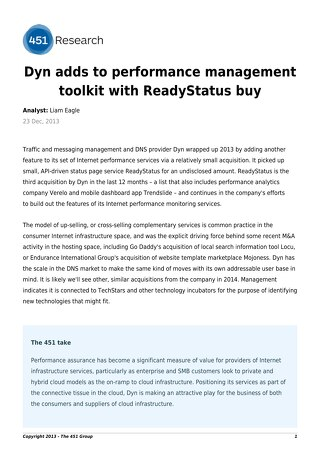 Dyn adds to performance management toolkit with ReadyStatus buy