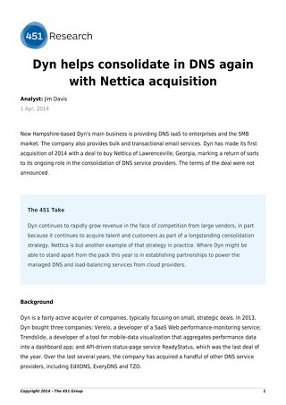 Dyn helps consolidate in DNS again with Nettica acquisition
