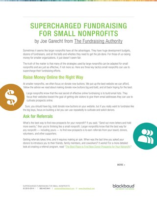 Tip Sheet: Supercharged Fundraising For Small NPOs