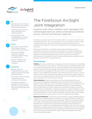ArcSight and ForeScout Joint Solution Brief
