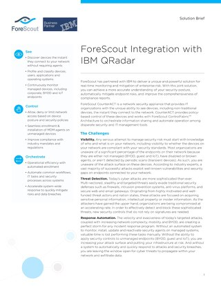 IBM QRadar and ForeScout Joint Solution Brief