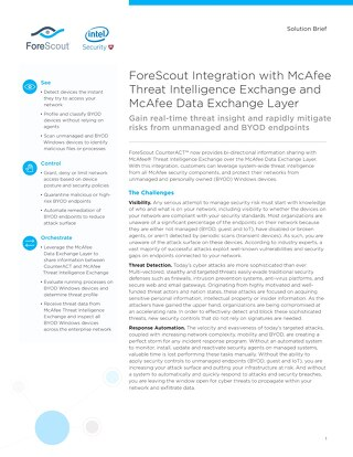 McAfee TIE and DXL and ForeScout Joint Solution Brief