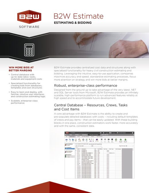 B2W Estimate Hotsheet - Construction Estimating & Bidding Software