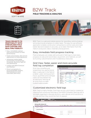 B2W Track Hotsheet - Construction Site Management Software Featuring Real-time Job Reports