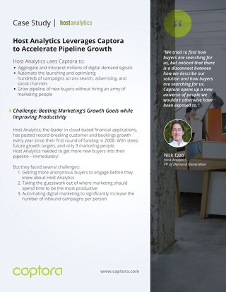 Host Analytics sees 560% increase in overall unique non-branded organic search visits with Captora