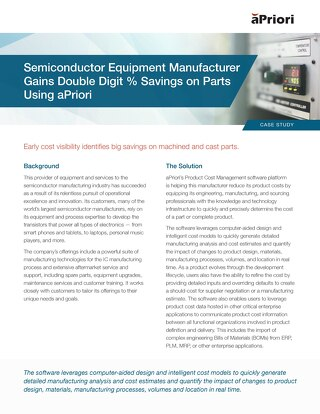 Semiconductor Equipment Manufacturer Gains Double Digit % Savings on Parts Using aPriori
