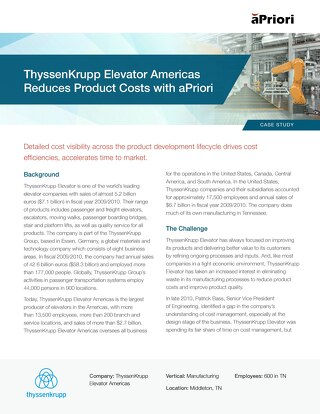 ThyssenKrupp Elevator Americas Reduces Product Costs with aPriori