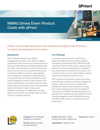 NMHG Drives Down Product Costs with aPriori